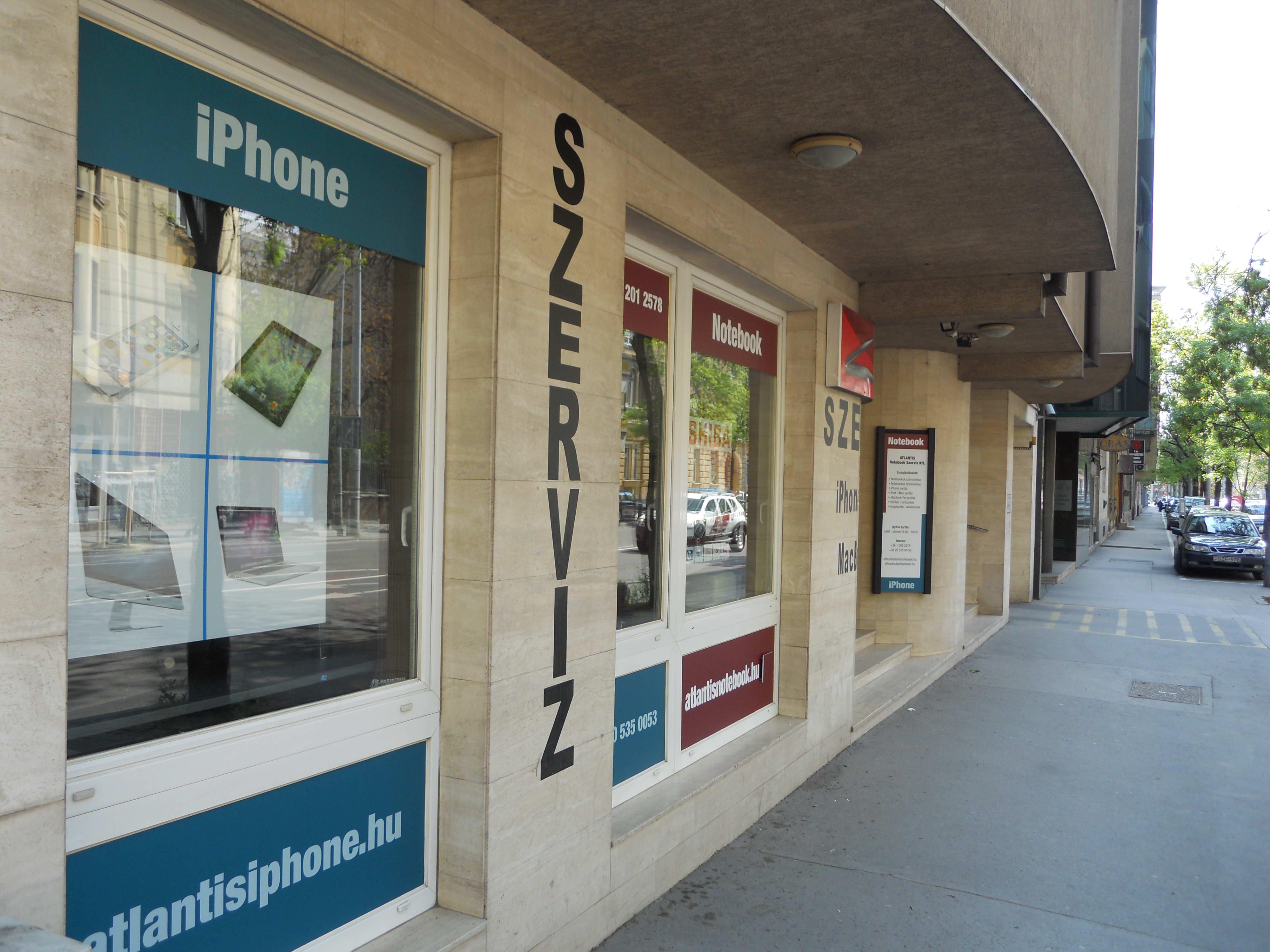 Atlantis iPhone szerviz Budapest 3. kerület Pacsirtamező utca 19. Budán Óbuda főútján.